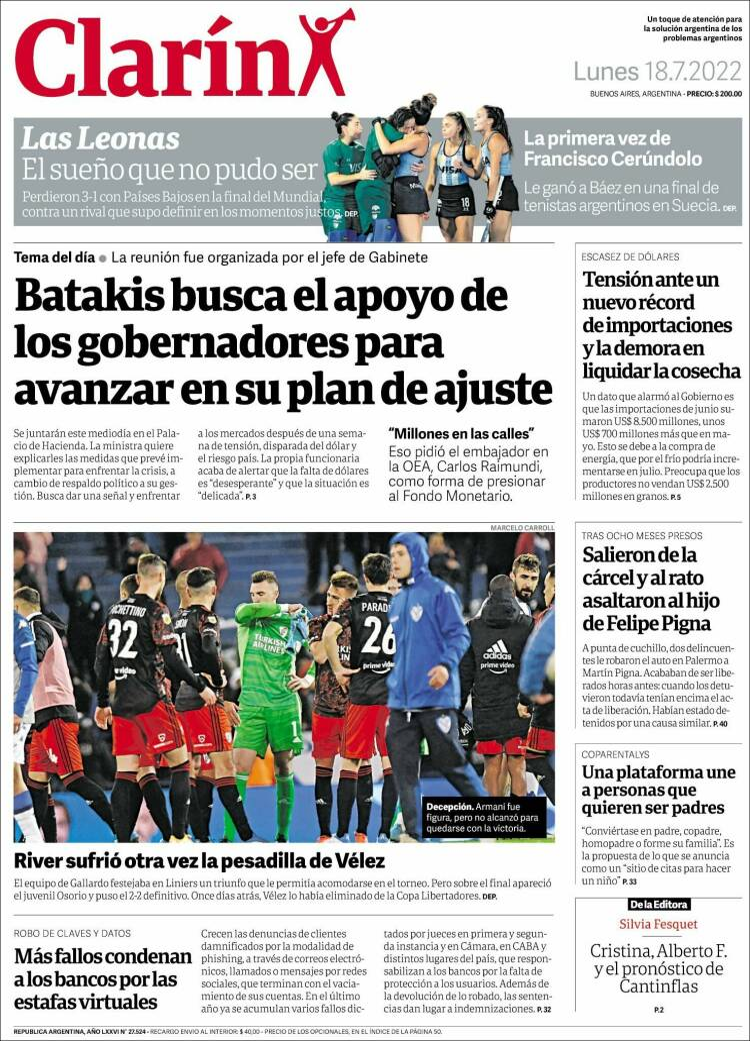 Portada del diario Clarín