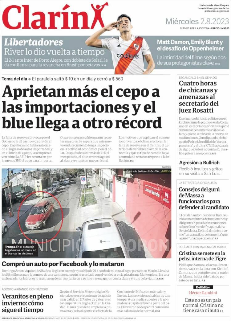 Tapa del diario Clarín
