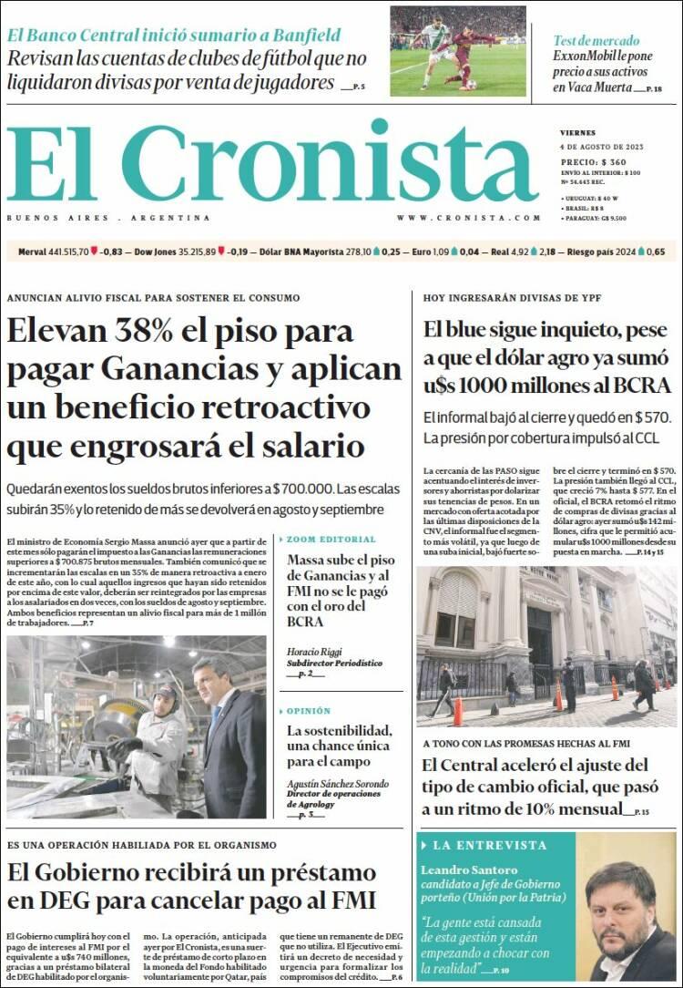 Portada del diario El Cronista