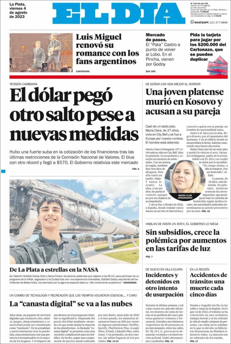 Tapa del diario El Día