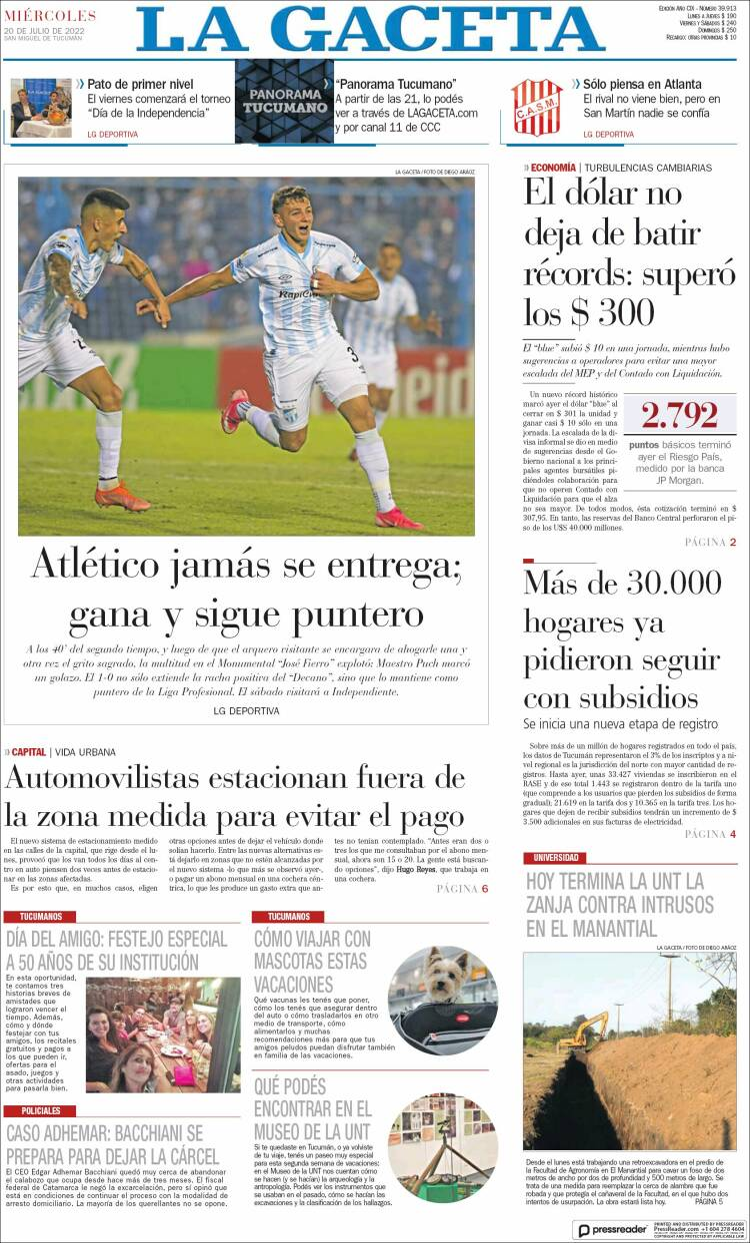 Portada del diario La Gaceta