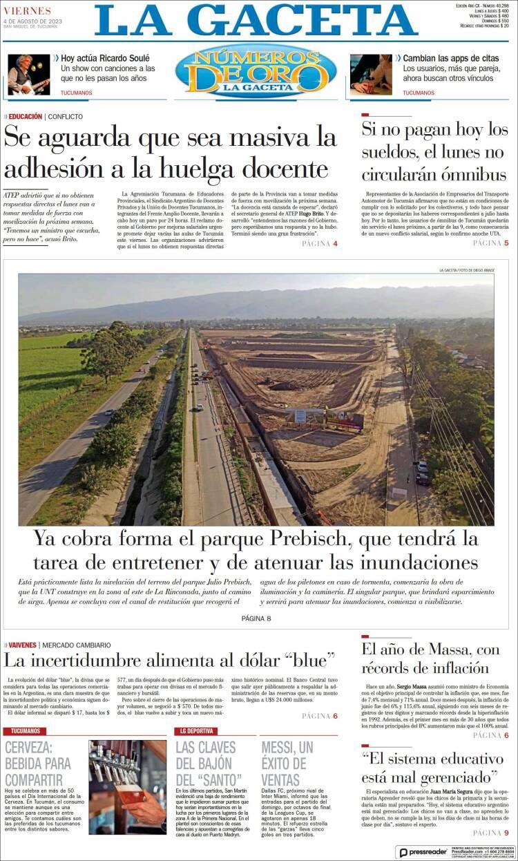 Tapa del diario La Gaceta
