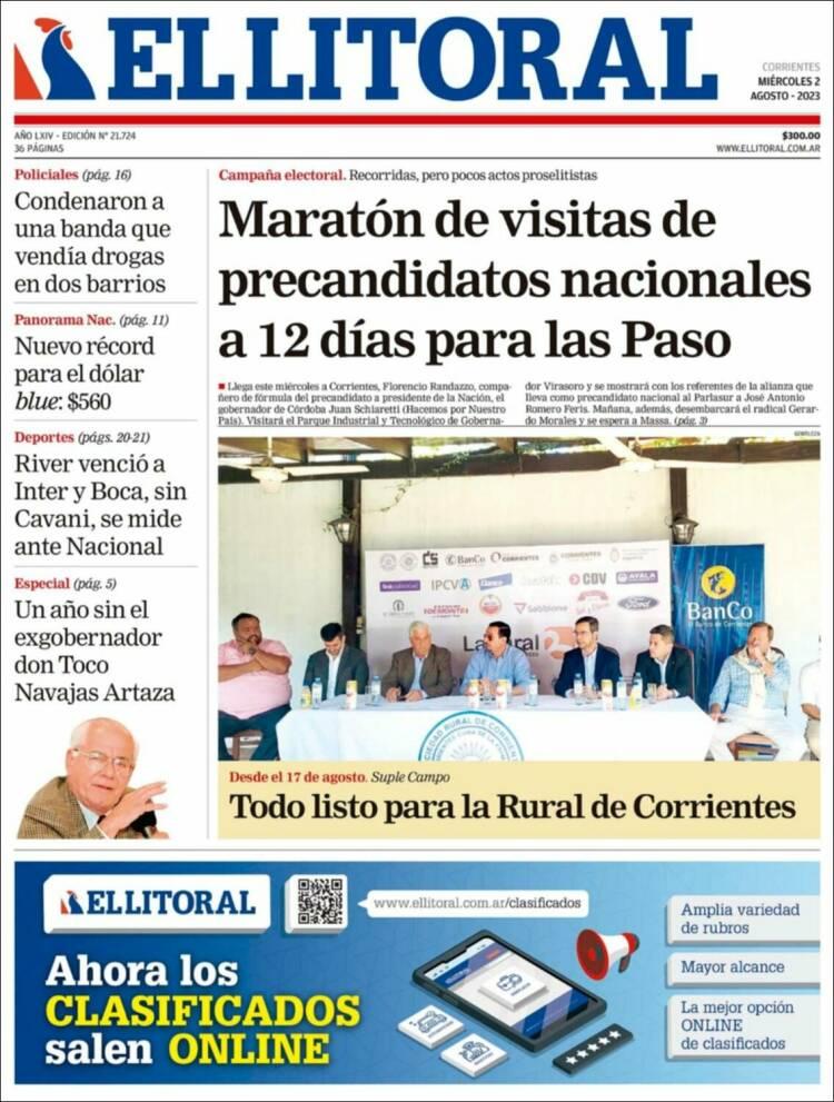 Portada del diario El Litoral