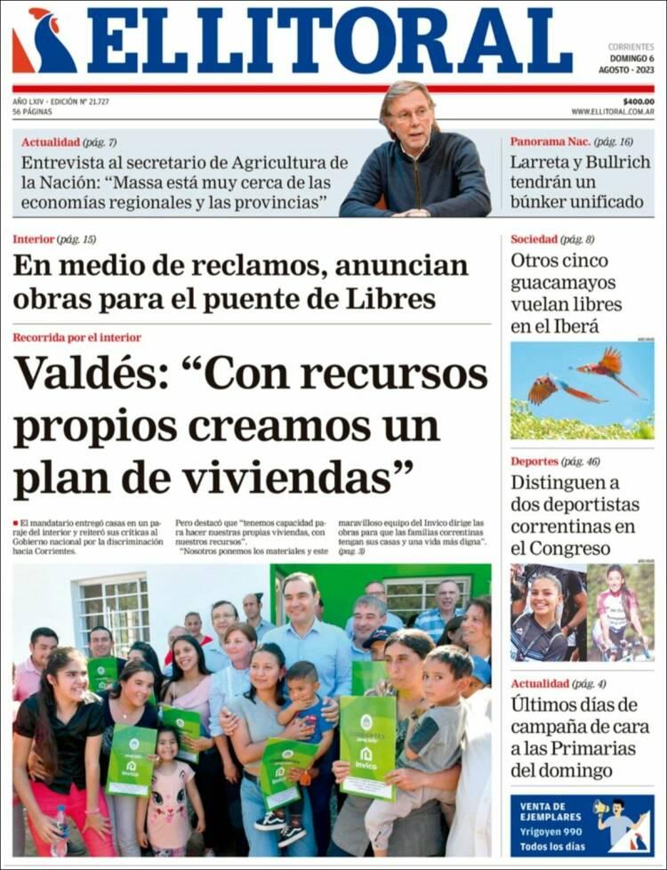Tapa del diario El Litoral