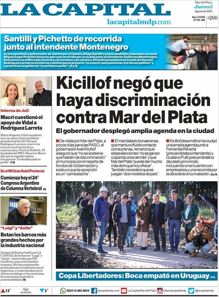 Portada del diario Diario La Capital