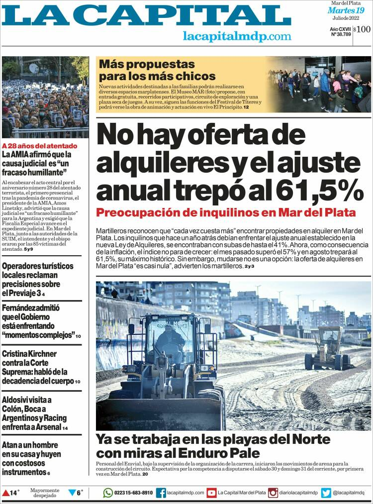 Tapa del diario La Capital