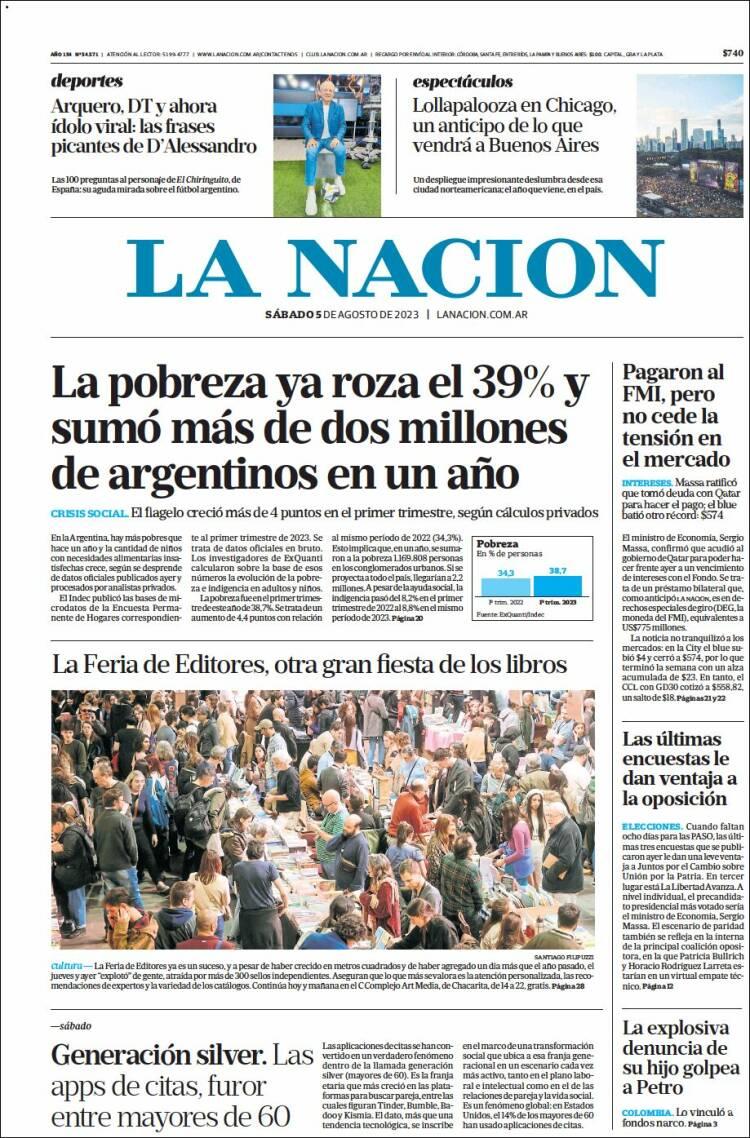 Portada del diario La Nación
