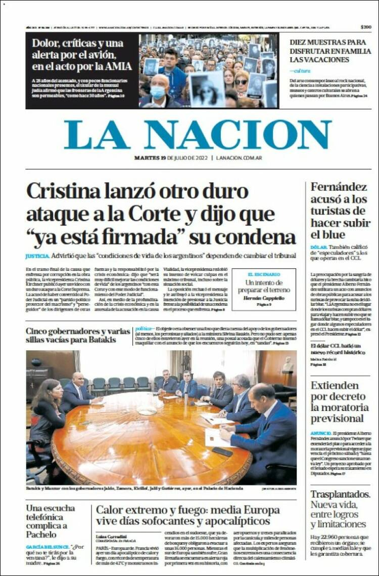 Tapa del diario La Nacion