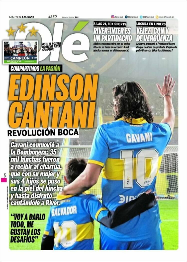 Portada del diario Olé